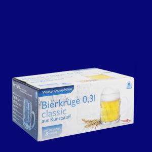 x Plastový vratný krýgl na pivo l SAN s uchem v dárkovem kartonu